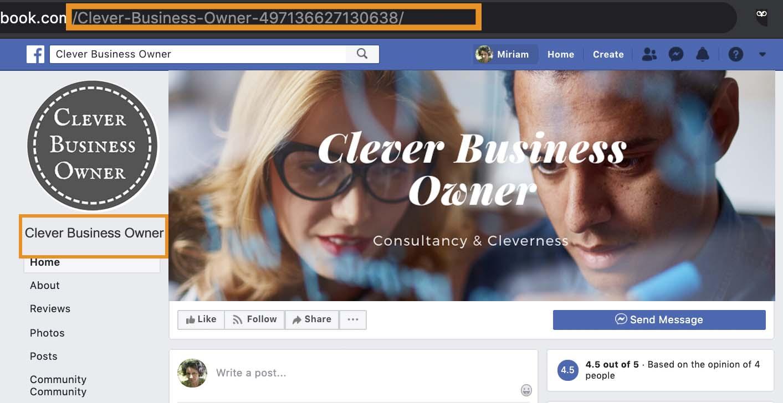 sample facebook page showing no username